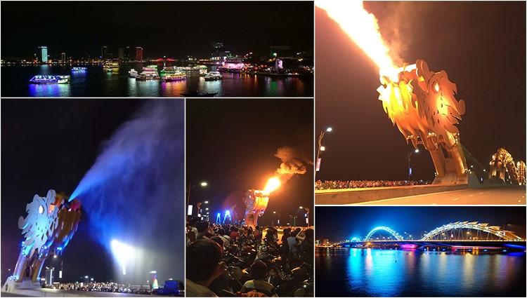Đến Đà Nẵng không thể thiếu trải nghiệm ngắm cầu Rồng phun lửa – phun nước,